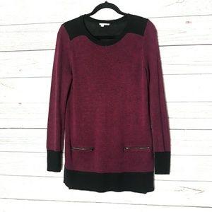 Halogen Plum & Black 2 Zip Pockets Tunic Sweater